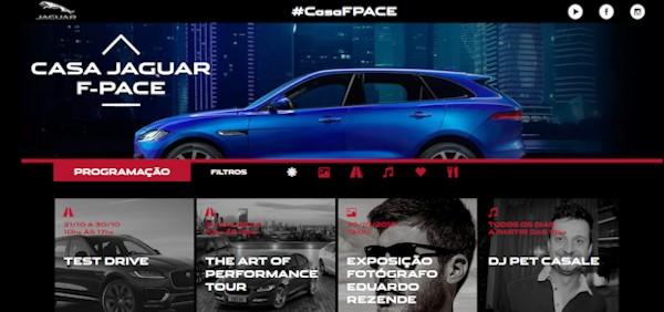 Site da Casa Jaguar F-Pace, que traz tudo sobre o espaço